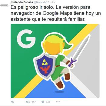 Tweet Zelda asistente de Google Maps