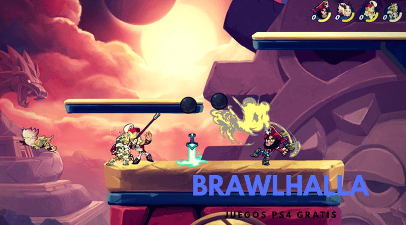 Brawlhalla juegos gratis PS4 - Combate entre 4 jugadores sobre una plataforma en un escenario 2D
