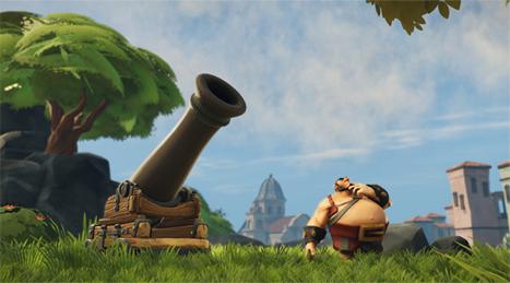 Personaje de un pirata y su cañón realizado con el motor de videojuegos Lumberyard