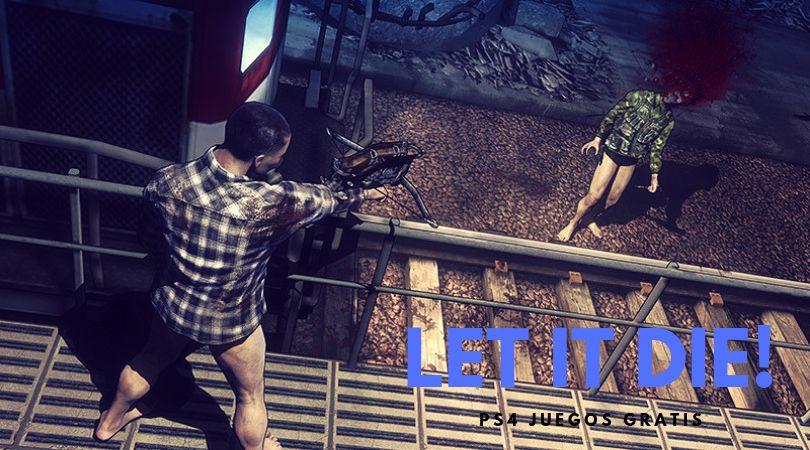Let it Die juego gratis PS4. Juego de acción . El personaje principal está disparando a un enemigo en su ascenso a la Tower Barbs
