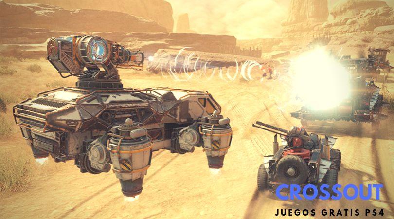 Crossout juego gratis PS4. Coches y naves en un mundo postapocalítpcio disparándose y huyendo por una carretera